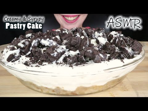 ASMR CREAMY & SYRUPY PASTRY CAKE 🍰 WITH NUTS & OREOS   No Talking   Eating Sounds